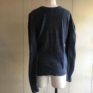 Express Heathered Navy Crew Neck Sweater